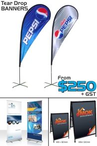 10% OFF BANNERS, PULL UPS & TEAR DROP FLAGS